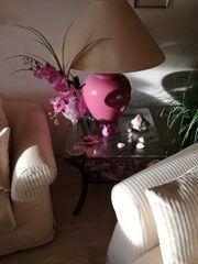 Große neuwertige Luxus-Porzellan Wohnzimmer-Tischlampe 76cm