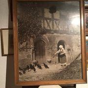 Altes Bild mit Holzrahmen Circa