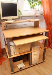 Buche - Computertisch ausziehbare Tastaturablage - Schreibtisch