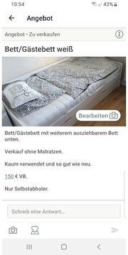 Ausziehbares Bett in weißem Holz