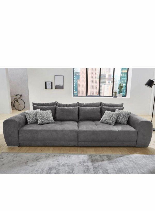 Big Sofa Dunkelgrau Bezug Luxus Microfaser In Lederoptik In
