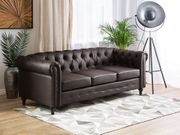 3-Sitzer Sofa Kunstleder dunkelbraun CHESTERFIELD neu