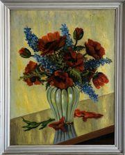 Neusachl Gemälde um 1920 MOHNBLUMEN