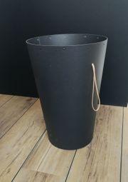 Design Papierkorb schwarz mit Schlaufe