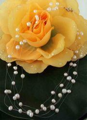 Perlenkette 5-Reihig P905 Filigran Weiss
