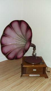 Grammophon Trichtergrammophon Phrynis mit Münzeinwurf