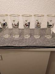 5 Gläser mit Wildtiermotiv