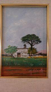 Landschaftsbild Ölgemälde Olivenbäume Apulien