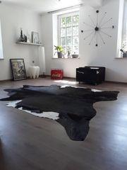 RIESIG 240x210 echt STIERFELL schwarz