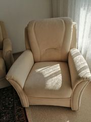 Sessel beige mit hochwertigem Möbelstoff