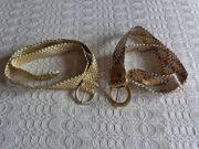 Vintage - Gürtel Kunststoff geflochten goldfarben silber