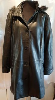 Damen Mantel Lederjacke