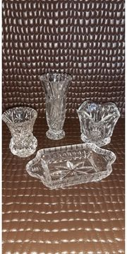 diverse alte Bleikristall Vasen Schale
