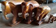 Schnitzerei Elefantenfamilie aus Holz