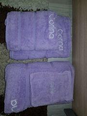 Handtuch Duschtuch Badetuch Set Lila