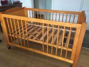 Baby-Gitterbett mit herausnehmbaren Stäben honigfarben