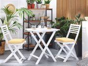 Balkonset Holz weiß 2-Sitzer Auflagen