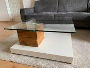 Design Couchtisch Wildeiche massiv Glas