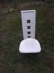 4 Weiße Designerstühle aus Kunststoffleder