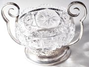 Antike Kristallschale Silbermontierung 875 Silber