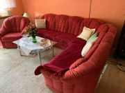 Sofa Eckcouch rot mit Sessel