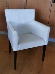 Sessel Stuhl Leder weiß Esszimmer