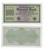 Reichsbanknote eintausen Mark 1922