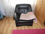schwarzer klassischere echter Leder-Sessel leichte