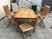 Teakholz Gartenmöbel Tisch 2 Stühle
