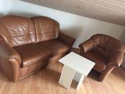 Couch und Sessel - braunes Leder
