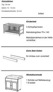Kinderbett und Kommode - Echt-Holz Kiefer