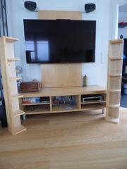 TV Wand mit Sideboard und