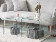 Beistelltisch 2er Set Glas transparent