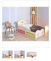 Kleinkinder-Bett mit Kuschelbär-Aufdruck Beige