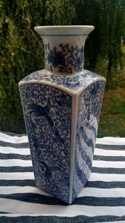 Chinesische Vase Phoenix eckig mit
