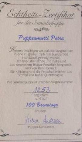 Sammlerpuppe Petra mit Echtheits-Zertifikat: Kleinanzeigen aus Gerlingen Gehenbühl - Rubrik Puppen