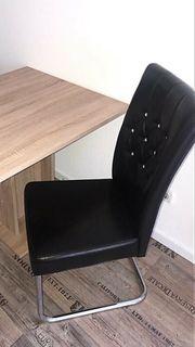 2x elegante Esszimmerstühle mit Glitzersteinen