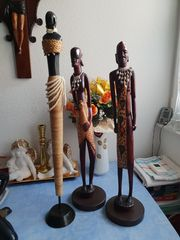 5 Afrika Figuren Holzmaske