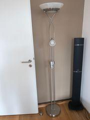 Energiespar Stehlampe in silber dimmbar
