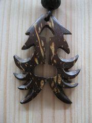 Lederband Halsband mit Kokosnussholz-Anhänger