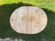 Massive Tischplatte rund zu verschenken