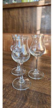 3x Schladerer Kelchglas mit Eichstrich