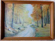 Gemälde Waldweg Auf Hartfaserplatte
