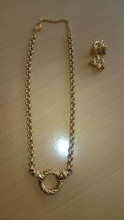 Halskette und Clip-Ohrringe vergoldet