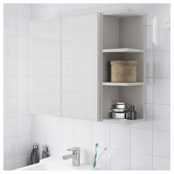 ikea spiegelschrank 2 t ren 1 abstellregal wei in. Black Bedroom Furniture Sets. Home Design Ideas