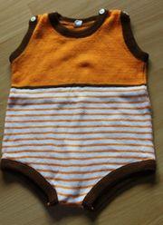 Baby-Spielhöschen Gr 80 orange-weiß-braun optimal