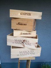 5 Weinkisten aus Holz Deko