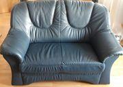 Couchgarnitur Leder dunkelblau 3-2-1