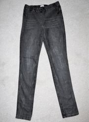 Schwarze Jeans Leggins im Used