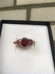 Rubin Ring mit Diamanten 375